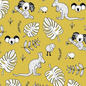 Australian outback animals and New Zealand birds jungle leaves illustration print kids summer mustard yellow