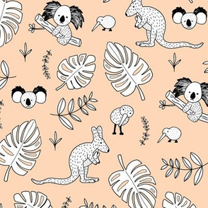 Australian outback animals and New Zealand birds jungle leaves illustration print kids summer peach pale