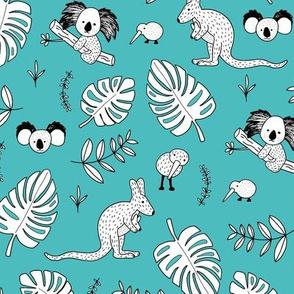 Australian outback animals and New Zealand birds jungle leaves illustration print kids winter blue