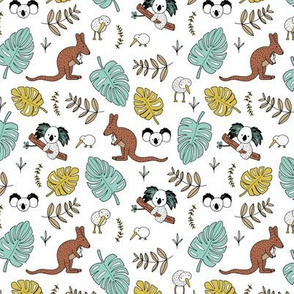 Australian outback animals and New Zealand birds jungle leaves illustration print kids summer mint boys SMALL