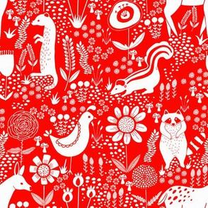 folk animals red