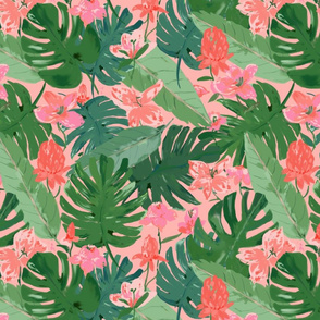 Tropical floral  - medium scale