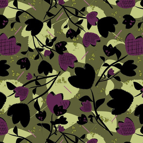 Maximalist Gritty Garden Black and Green Floral bythetruethread