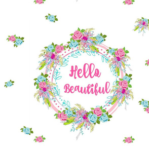 hello beautiful 2 - pink text -Rose bouquet -white-XL19