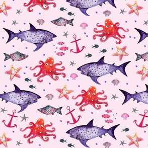 Under the Sea Pink Ground (Smaller Scale)