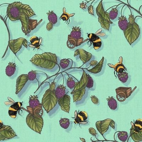4 servilletas jardín hierbas mariposa abeja