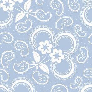 Heartland Rose Paisley: Chambray Blue & White Floral Paisley