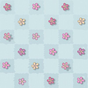 Widdle Bitty Bees-Just Flowers Checkered-Pastel Blue