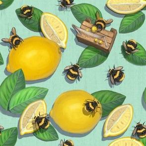 Mint Green Lemon Bee Fabric / Summer Kitchen Kids Quilt/Widdle Bitty Bees//Lemonade Stand