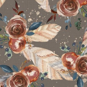 Boho Floral Gray