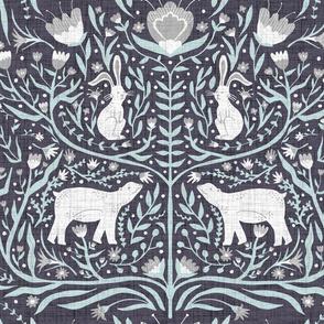 Bunny and Bear Folkart-Dark