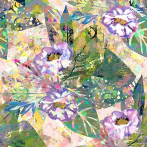 Maximalist Flowers - Painted Digital Glitch Collage