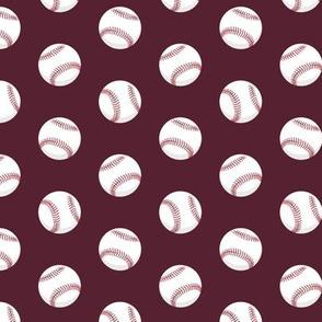 baseballs - maroon - LAD19