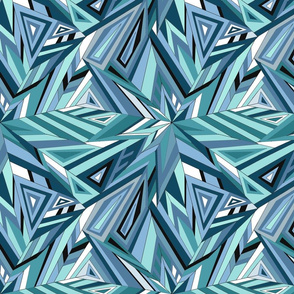 Blue Geometric Feathers