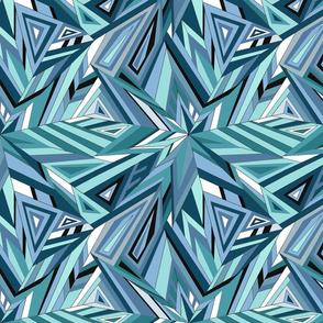 Blue Geometric Feathers