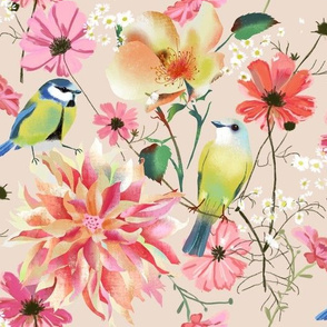 spring flowers with birds