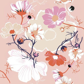 pastel cosmea garden