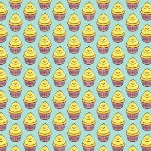 """(3/4"""" scale) chick cupcakes - easter spring sweets - pink on aqua LAD19BS"""