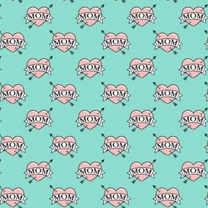 "(3/4"" scale) mom heart tattoo - pink on teal C19BS"