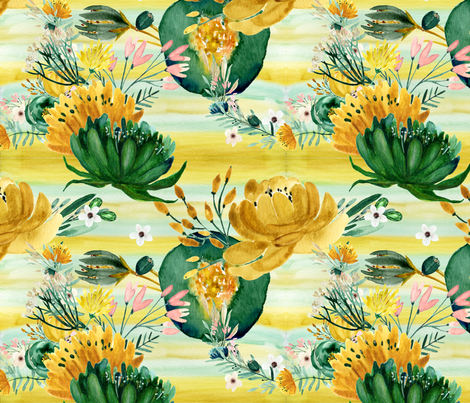 Emerald & Gold Bloom fabric by floramoon on Spoonflower - custom fabric
