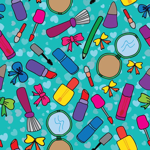 Doodle of Colorful Makeup/ Cosmetic tools on Turquoise