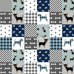 MINI chihuahua black and tan pet quilt b cheater quilt collection dog fabric