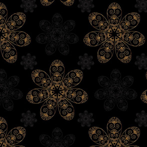 Golden vector mandala seamless pattern black background