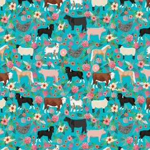 SMALL - SMALL - Farm animals cow sheep goat chicken floral fabric turquoise