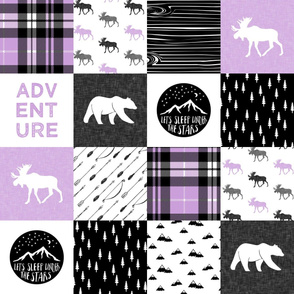Happy Camper wholecloth w/fall plaid    (purple and black) C19BS