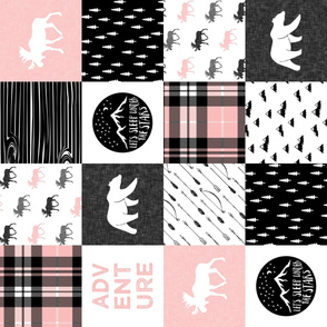 Happy Camper wholecloth w/fall plaid || (pink and black) 90 C19BS