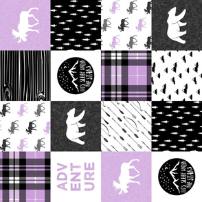 Happy Camper wholecloth w/fall plaid || (purple and black) 90 C19BS