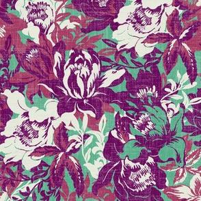 big botanical florals on green linen texture