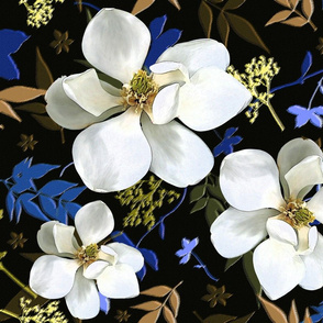 maximalist Magnolia Nights blue