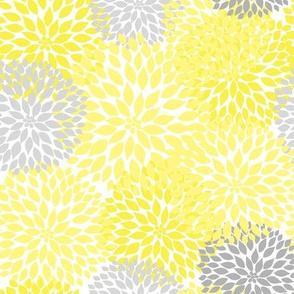 Yellow Gray Dahlia Floral Bouquet