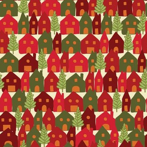 Colorful Red Green Christmas Houses