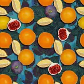 Bold Orange and Figs on Phthalo Blue//Maximalist Challenge//Retro Fruit Obsession//Kim Marshal