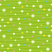 Flowery spring meadow with dots and hearts