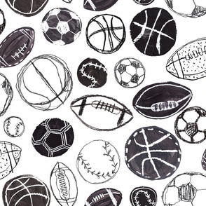 Sports Balls in Black and White - Baseball, Football, Basketball and Soccer