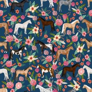 horse multi coat floral horses fabric - navy