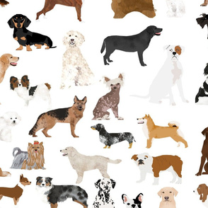 LARGE - dogs -  dog fabric lots of breeds cute dogs best dog fabric best dogs cute dog breed design dog owners will love this cute dog fabric