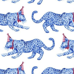Party Leopards alternating Blue/Red