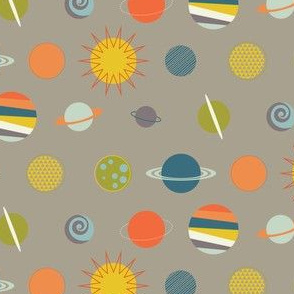 Out In Space - Planets on Taupe