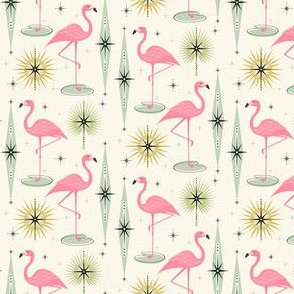 Retro Flamingo Oasis With Sunbursts