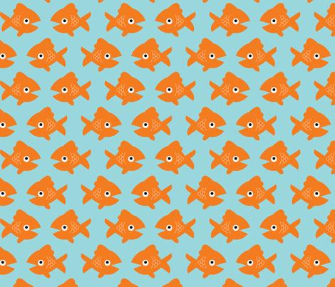Swimming Goldfish Large - Blue fabric by lellobird on Spoonflower - custom fabric