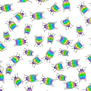 Rainbow beetles on white