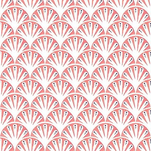 Coral and white  seashell fan // Art Deco fan