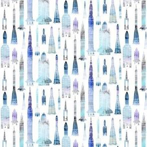 Watercolour Rockets Blue - smaller scale