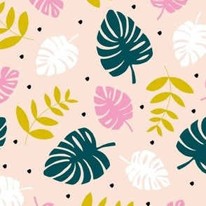 Tropical monstera and palm leaves garden summer boho plant lovers design pink yellow green