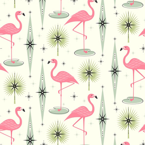 Retro Flamingo Oasis Large Scale