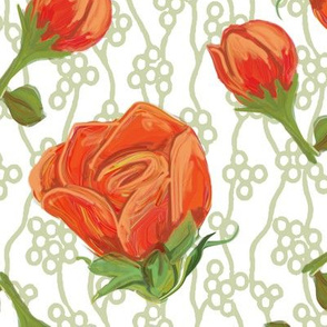 Large Roses Scattered on Bubble Vine on White